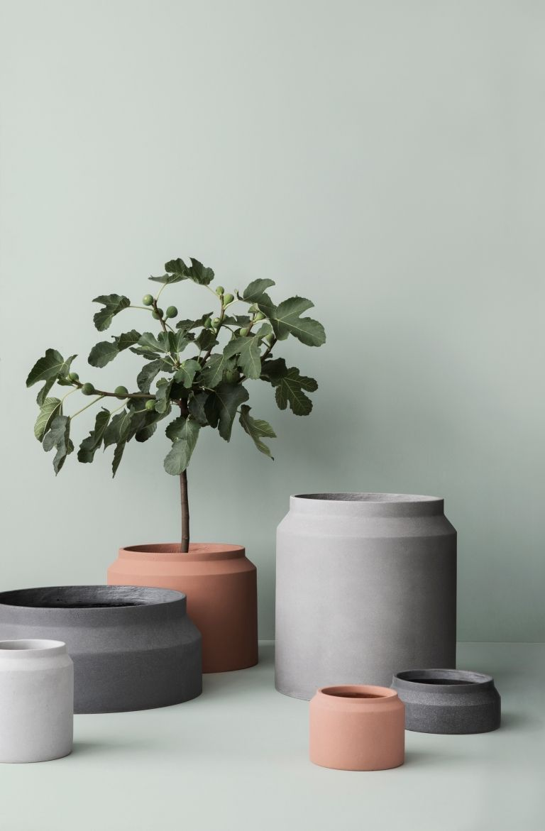 Ferm Living Tapete Dotty : Ferm Living Pot Vase hellgrau